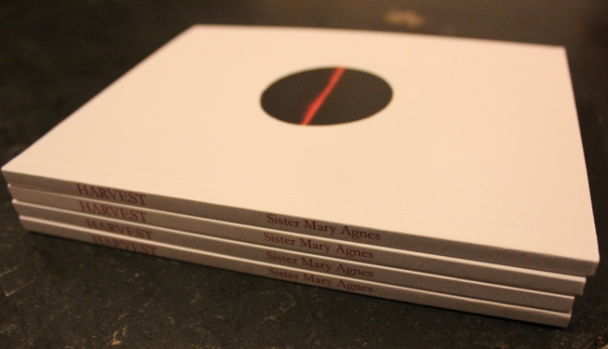 Photo shows a little pile of booklets lying with the spine towards the reader: all copies of Sister Mary Agnes's Harvest. You can see it is white and that there is no lettering on the front cover, only a black circle with a red line through the middle.
