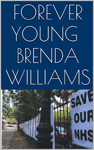 The top two thirds of the cover is dark blue with large white caps displaying the title and author. The bottom third shows a photograph down the lane of the Pond Street protest with a large placard draped against the railings reading 'SAVE OUR NHS'. The street is empty. No people at all.