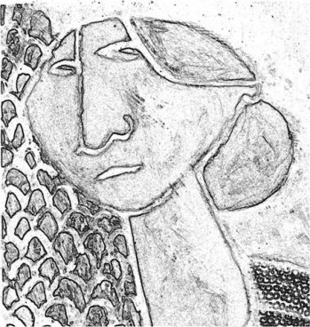 Monochrome drawing of a stylised woman in three-quarter profile with hair in a bun.