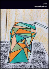 This is an A6 sized pamphlet. There is a band of black at the top, in which the title and author's name are printed in white lower case right-justified. The rest of the jacket is a painting, in a geometric style, of a half collapsed carton of juice made up of coloured traingles and standing on a grey table. The colours are orange, green, blue, pink, grey. Quite jolly. There is a straw sticking of the top. The wall behind is pale orange.