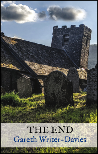 The cover shows a full colour picture of an old church with old graves (grassed over) and headstones. There's a blue sky with a couple of clouds. The title and author's name appear in a translucent whitish band near the foot of the jacket. The title is in large black caps. The author's name is sky blue and lower case.