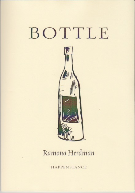 The jacket is cream coloured, A5. The title BOTTLE is in large caps in the top quarter. Below it, centred, is a drawing of a bottle, a little sketchy with a sketchy label. An old style bottle. The author's name is centred in small italics below this.