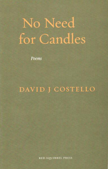 Jacket of pamphlet which is a kind of deep mossy green, with the author's name in bright yellow small caps centred in the middle of the jacket. In the top third, the title of the pamphlet is in lower case, slightly left of centre, with the top line (No Need) indented more than 'for Candles'. The title is lower case and much bigger than author's name. Below it, very small, in white italics is POEMS. At the very bottom of the pamphlet, centres in white and very small caps, is the name of the press.