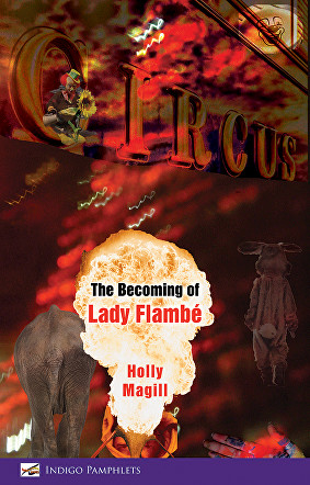 It's a complicated cover design. It is full colour with imagery full spread over the print area. The eye is caught immediately by a light-bulb shaped flare of flame in the bottom third, slightly to the left of centre. This is fire-eater flame. On it appears the text. First the words 'The Becoming of' in bold black lower case. Then Lady Flambe in bigger lower case red. The author's name appears below this in smaller lower case red. The main area of the pamphlet has a collage of lights and squiggles, and what appears to be a rabbit costume. There's a clown's face top right. The letters CIRCUS are spelled out in 3-D effect receding at an angle into the darker part of the cover. The back of an elephant is visible to the left of the flames with text in them.