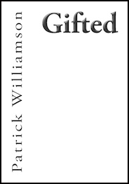 A plain white pamphlet. All text is black. The title is huge lowercase bold print top right -- about two inches high. The poet's name, smaller, is written horizontally in a line from the bottom lefthand corner up to the top of the pamphlet. So author name and title are at right angles to each other.