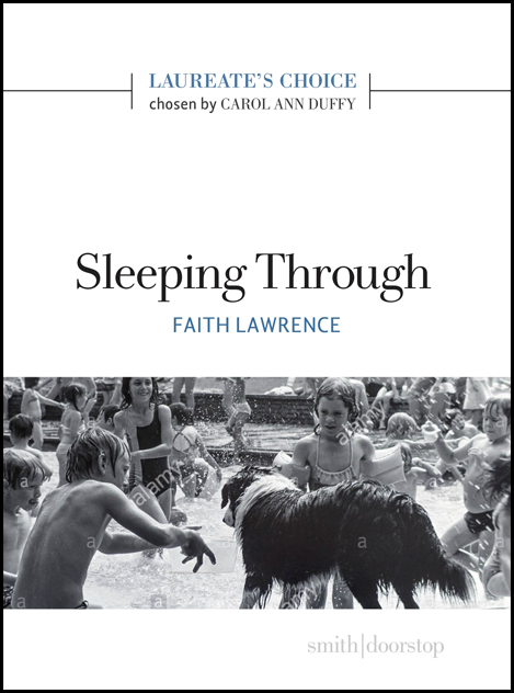 The cover is white, with a band of monochrome photograph in the bottom thiurd. This shows a busy scene in the open air that includes a large dog and some semi-clad humans. One of the people might be pretending to be a dog. The title is centred lower case black in the very middle of the pamphelt. Below it the author's name in small blue sans serif caps. A line about an inch from the top is interrupted by blue caps for Laureates Choice and below this in small black lower case 'chosen by Carol Ann Duffy'.