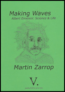 The cover is a middle shade of green, not too dark, so that the black text and line drawing of Einstein show up clearly. The drawing is in the middle and large. The main title is lower case italics near the top, mirrored by the author's name (same size and font) below the drawing. Subtitle (Albert Einstein: Science & Life) is just above Einstein's hair, quite small, dark grey italics. The large V plus dot that is the publisher's logo is centred at the foot of the page.