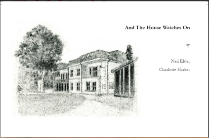 The pamphlet is unusual in shape. It is landscape in format -- a wide front jacket. The colour is white but there's a detailed line drawing of a stately building occupying about two thirds of the space, with all text right justified way over to the right hand side. Text is black and lower case. The title is all on one line in small bold print. The names of the poet and the illustrator are below that, each a line of their own.