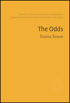 The jacket is bright mustard yellow. All text is in the top third and right justified. First in small brown text two lines indicating this was a competition winner. Then in large, black, sans-serif, lower case the pamphlet title: The Odds. Below this the name of the author in smaller seriffed lower case.