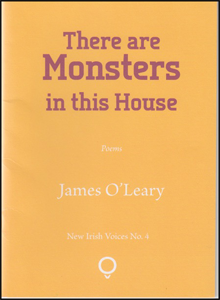 The jacket is bright mustard yellow. No images. The title is centred in the top third in dark red, and the font is lower case but the word 'monsters' (with cap M) is far bigger than all the rest. All print is centred. The author's name, just below the middle of the jacket is in lower case white print, relatively hard to see compared to the red title.
