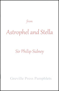 Plain off white cover. Centred, small lower case the word 'from', then much larger centred and occupying the full spread of the cover, Astrophel and Stella. Below this just into the lower half of the jacket, Sir Philip Sidney. At the bottol, small lower case Greville Press Pamphlets. All lettering is red, though the colour of the press itself much paler than the rest.