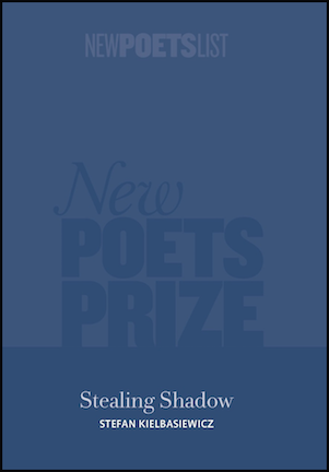 Dark blue cover, with large watermarked print stating 'New POETS PRIZE' but you can't really see it. At the bottom, centred in white font, is the title of the pamphlet -- Stealing Shadow -- in lower case, and below that the author's name in small caps, also white. It is a minimalistic design.