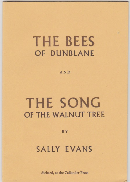 The book jacket is a light walnut colour, with caps for titles. The words THE BEES are bigger than OF DUNBLANE, and the bees are purple and Dunblane is black. The same formatting contrast is used in THE SONG and OF THE WALNUT TREE. There are no images, only the type.