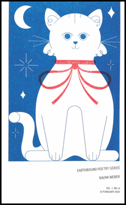 The jacket has a white background, but three quarters of it is made up of a large stylised image of a white cat with a red bow, set against a bright blue sky with stars and moon. The bottom band is white and here the title and author name as in small blue caps at a slightly rakish angle.