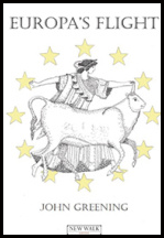 The jacket is white. IN the centre there is stylised drawing of a greek god with a bull, and though this is monochrome the image is surrounded with yellow stars in a circular pattern. The title is in black caps in the top section of the jacket and stretches from one side to the other. The author's name is in much smaller caps (all black caps) at the foot of the jacket, with the publisher's logo below it.